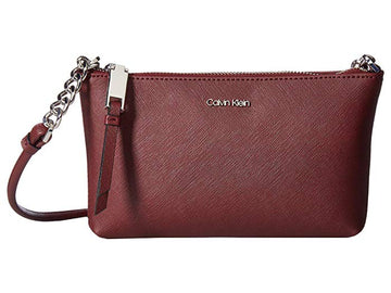 Calvin Klein Hayden Saffiano Leather Chain Crossbody | Brown