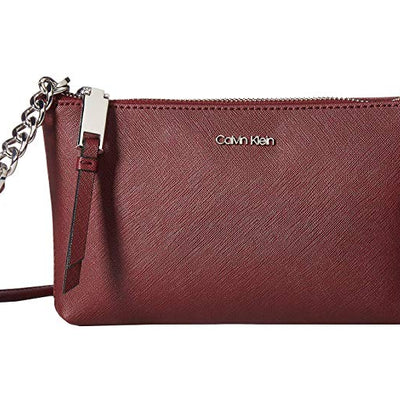 Calvin Klein Hayden Saffiano Leather Chain Crossbody | Brown - VendaStores
