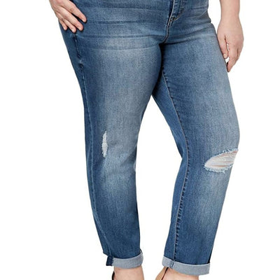 Celebrity Pink Trendy Women's Plus Size Ripped Girlfriend Jeans - VendaStores