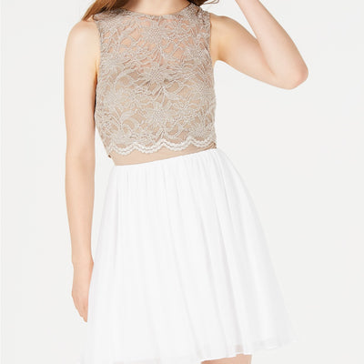 City Studios Juniors' Lace Popover Fit & Flare Dress - VendaStores