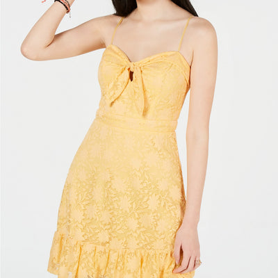 City Studios Juniors' Lace Sweetheart Ruffle Dress - VendaStores