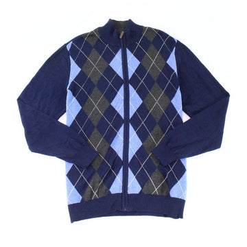 Club Room Argyle Full-Zip Pima Cotton Sweater