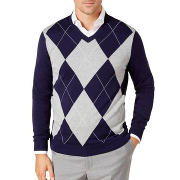 Club Room Men's Pima Argyle V-Neck Sweater