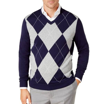 Club Room Men's Pima Argyle V-Neck Sweater - VendaStores