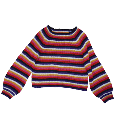 Crave Fame Juniors' Fluffy Striped Pullover Sweater - VendaStores