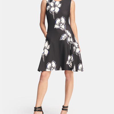 DKNY Floral Print Fit & Flare Dress - VendaStores