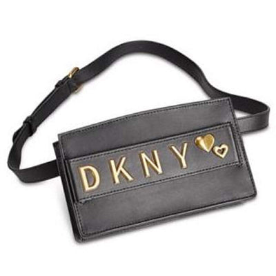 DKNY Smoke Small Black Leather Snap Closure Belt Bag, MSRP $262 - VendaStores