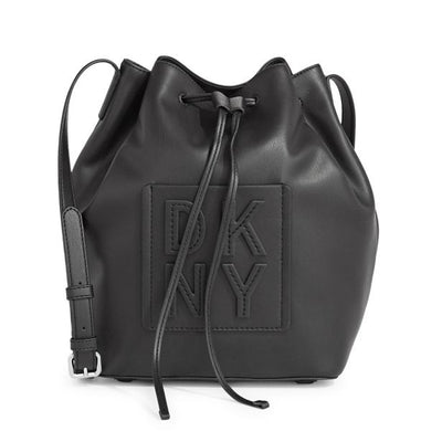 DKNY Medium Black Leather Tilly Drawstring Bucket Bag, MSRP $228 - VendaStores