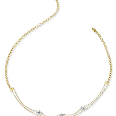 Eliot Danori 18k Gold-Plated Double Chain and Cubic Zirconia Choker Necklace - VendaStores
