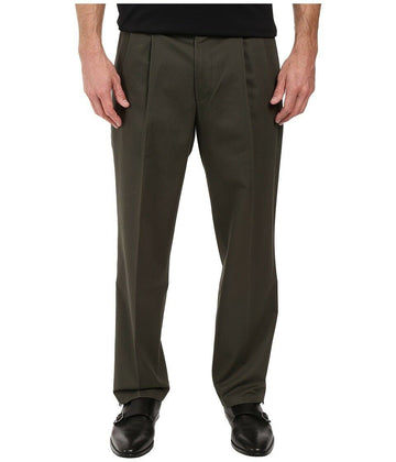 Dockers Signature Stretch Classic-Fit Pleated Pants in Olive Green