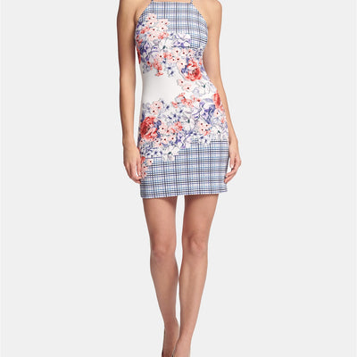 GUESS Women's Apron-Neck Floral Bodycon Dress - VendaStores