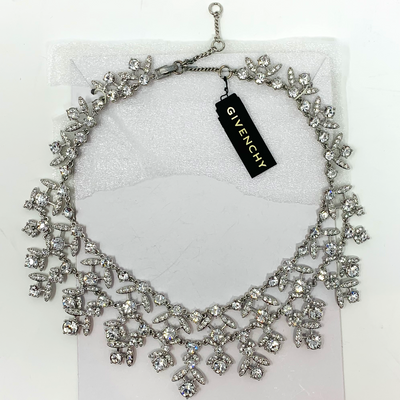 Givenchy Womens Crystal Collar Necklace Silver Tone NWT, MSRP $315 - VendaStores