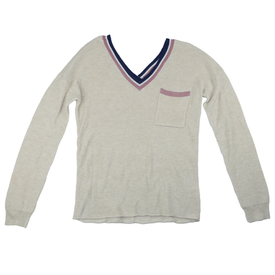 Hippie Rose Juniors' Striped-Trimmed V- Neck Sweater - VendaStores