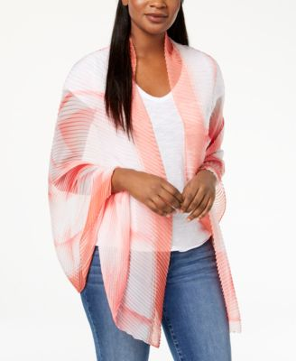 I.N.C International Concepts Ombre Geo Pleated Wrap Pink ONE SIZE - VendaStores