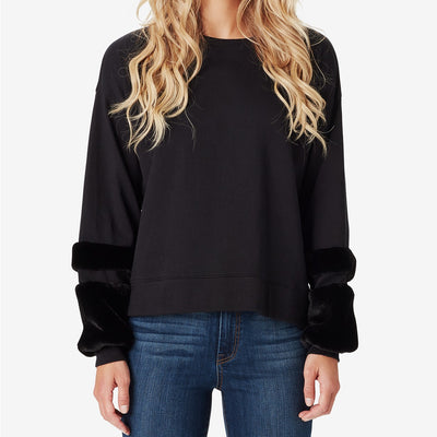 Jessica Simpson Juniors' Molly Faux Fur-Trim Sweatshirt - VendaStores