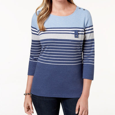 Karen Scott Plus Size 1X Taylor Striped Top - VendaStores