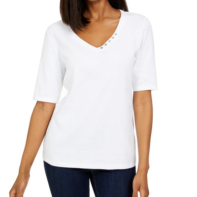 Karen Scott Women's Plus Size 3/4-Sleeve Top - VendaStores