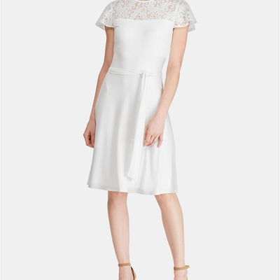 Lauren Ralph Lauren Belted Lace-Trim Dress - VendaStores