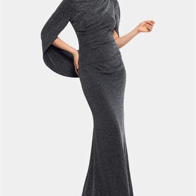 Betsy & Adam Metallic-Knit Draped Gown - VendaStores