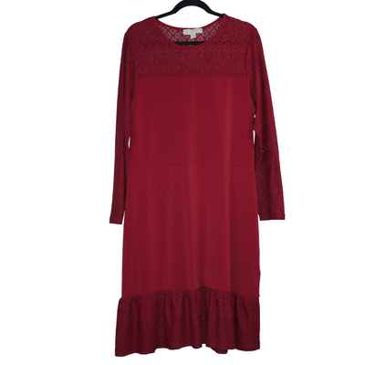 Michael Kors Synthetic Plus Size Fabric Mix Long Sleeve Dress - VendaStores
