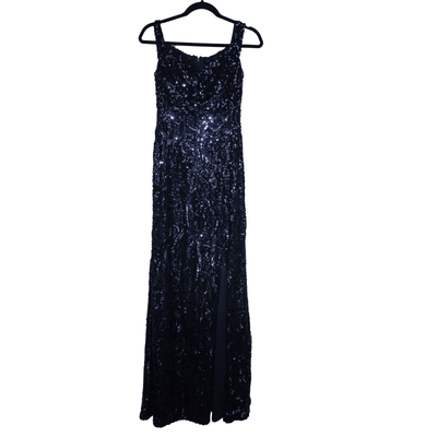NW Nightway Women's Sequined Off-The-Shoulder Formal Evening Dress Gown