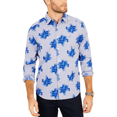 Nautica Blue Mens Stripe Floral Classic Fit Button Up Shirt - VendaStores