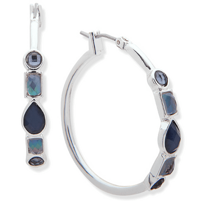 Nine West Stone Hoop Earrings Blue - VendaStores