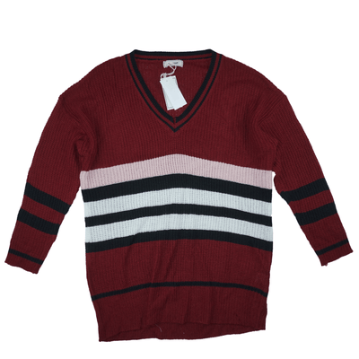 No Comment Block-Striped V-Neck Pullover Sweater - VendaStores