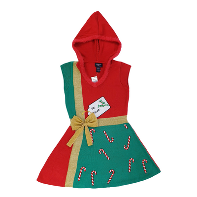 Hooked Up by IOT Juniors' Christmas LG and MD Present Sweater Dress - VendaStores