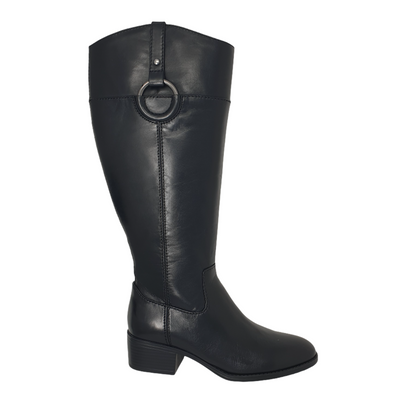 Alfani Bexleyy Womens Black Size 7.5 (Wide Calf) Riding Leather Boots, MSRP $251 - VendaStores