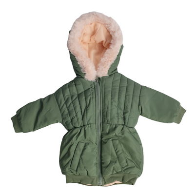 First Impressions Baby Girls Size 3-6MOS Med Green Fur Trim Parka Jacket, MSRP $78 - VendaStores