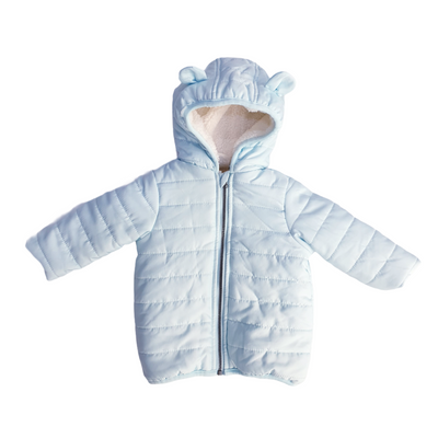 First Impressions Baby Girls Size 6-9MOS Light Blue Bear Puffer Hood Jacket, MSRP $70 - VendaStores