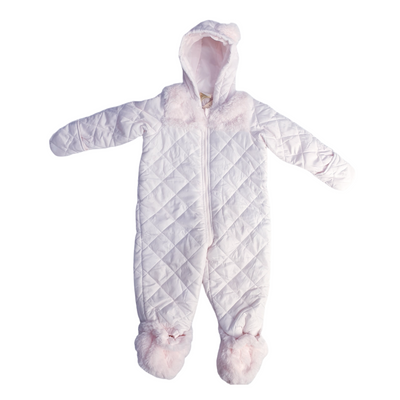 First Impressions Baby Girls Size 0-3MOS Faintest Pink Fur Trim Snowsuit , MSRP $91 - VendaStores