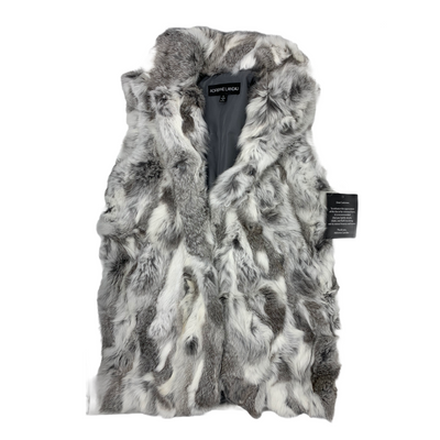 Adrienne Landau Small Textured Rabbit Fur Vest, MSRP C $395 - VendaStores