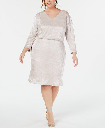 Calvin Klein Plus Size Split-Shoulder Metallic Blouson Dress Size 18W, 22W