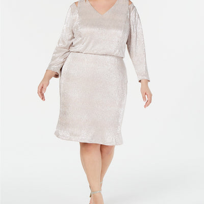 Calvin Klein Plus Size Split-Shoulder Metallic Blouson Dress Size 18W, 22W - VendaStores
