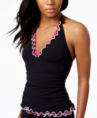 Profile by Gottex Ruffled Halter Tankini Top Black 10 - VendaStores