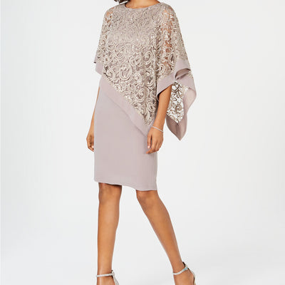 R & M Richards Sequined Lace Poncho Dress - VendaStores