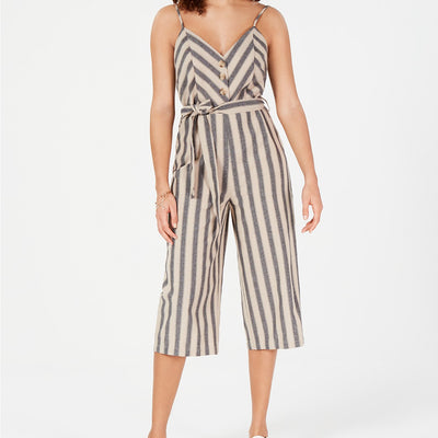 Rosie Harlow Juniors' Striped Cropped Jumpsuit - VendaStores