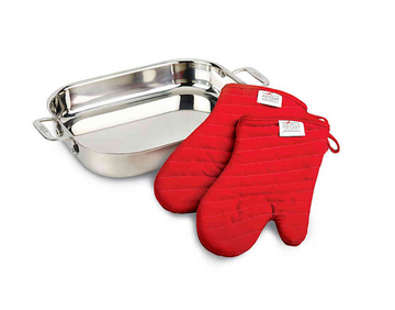 All-Clad Stainless Steel Lasagna Pan Gift Set with Mitts