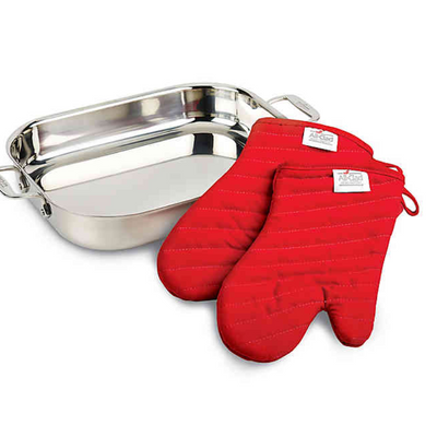 All-Clad Stainless Steel Lasagna Pan Gift Set with Mitts - VendaStores