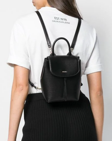 DKNY Lex Leather Backpack in Black