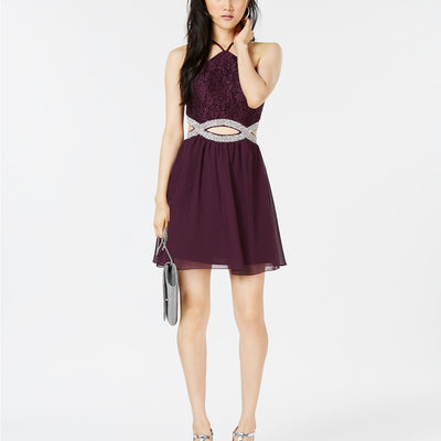 Speechless Juniors' Embellished Cutout Fit & Flare Dress - VendaStores