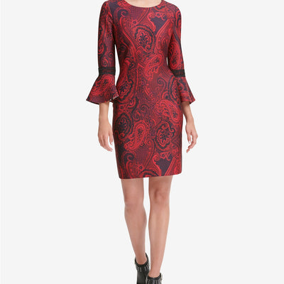 Tommy Hilfiger Printed Bell-Sleeve Sheath Dress - VendaStores