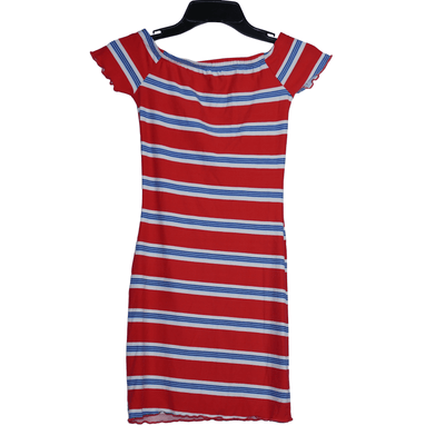 Ultra Flirt Juniors' Striped Lettuce-Edge Dress - VendaStores