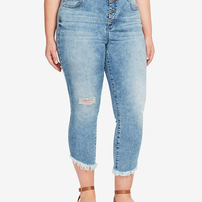 William Rast Plus Size High-Rise Ripped Raw-Hem Cropped Jeans - VendaStores