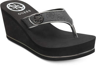 GUESS Women's Sarraly Platform Wedge Thong Sandals in Black Multi - VendaStores