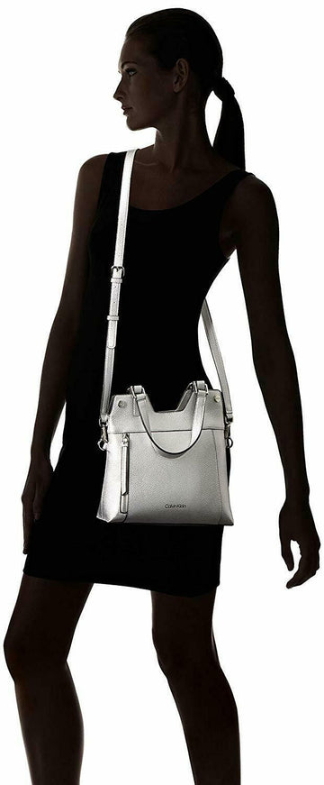 Calvin Klein Rachel Vegan Leather Novelty Small Tote | Silver