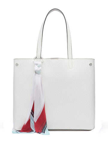 Calvin Klein Rachel Vegan Leather Novelty Tote in white