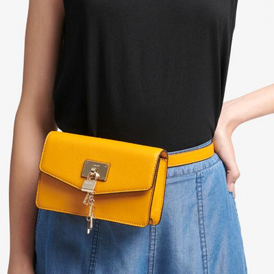 DKNY Elissa Leather Snap Closure Belt Bag in Mango, MSRP $175 - VendaStores